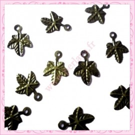 EXTRA PRIX : 10 breloques bronze feuille filigrée
