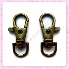Lot de 20 mousquetons porte-clefs dorés 3.9cm