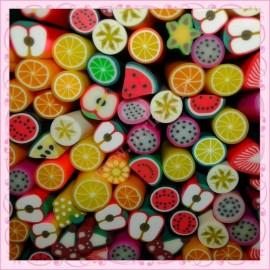 Mixte 50 canes fimo fruits