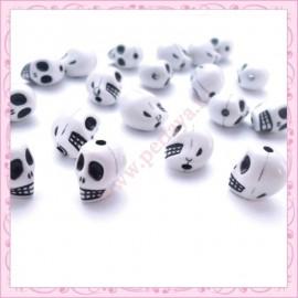 lot de 40 perles tête de mort en acrylique
