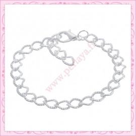 Lot de 24 bracelets à chaîne striées en métal argentés