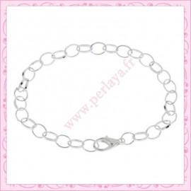 12 bracelets chaine en métal argentés