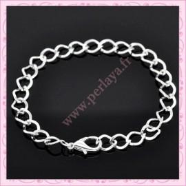 Lot de 12 bracelets chaine en métal argentés