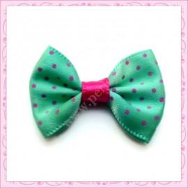 Lot de 20 appliques noeuds satinées vert et rose à pois à coller 3.5cm