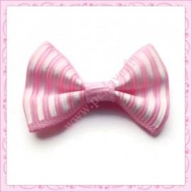 Lot de 20 appliques noeuds violet/rose et blanc à rayures 3.5cm