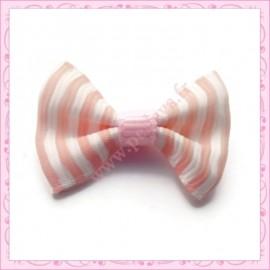 Lot de 20 appliques noeuds rose et blanc à rayures 3.5cm