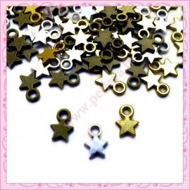 Lot de 170 breloques étoiles argentées 11mm