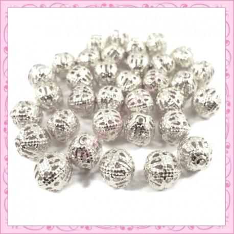 Lot de 250 perles filigranées en métal argentées 4mm