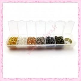 Boite de 1200 anneaux en métal - 5mm - argenté - doré - bronze - mat - doré rose - noir