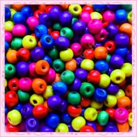 Lot de 100 perles en bois visages 14mm