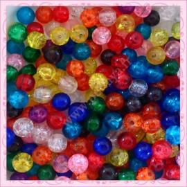 Mixte de 300 perles craquelées en verre 8mm