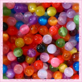 200 perles rayées rondes 8mm en résine