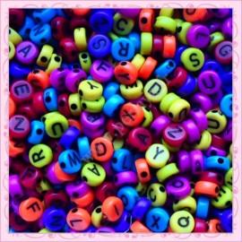 500 perles alphabet 7mm blanches en acrylique