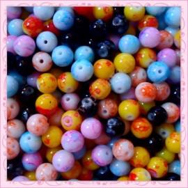 Lot de 500 perles tachetés 8mm en verre