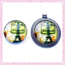 4 cabochons en verre rond 25mm Tour Eiffel