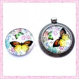 4 cabochons en verre rond 25mm papillon