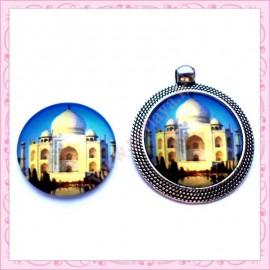 4 cabochons en verre rond 25mm Taj Mahal