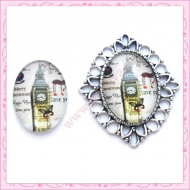 4 cabochons en verre oval 18x25mm Big Ben