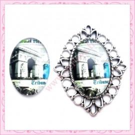 4 cabochons en verre oval 18x25mm Arc de Triomphe