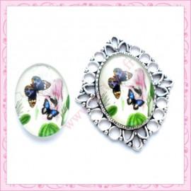 4 cabochons en verre oval 18x25mm papillon