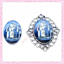 4 cabochons en verre oval 18x25mm Taj Mahal
