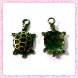 Lot de 15 breloques tortues bronze 2.5cm