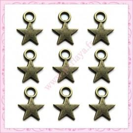 300 breloques étoiles bronze en métal 11mm