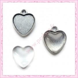 lot de 4 supports pendentif coeur de 20mm