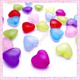 Mix de 30 perles coeur en acrylique