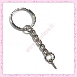 50 anneaux porte clef 6cm avec pitons