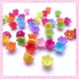 300 perles lucite fleur 10mm givrées en acrylique