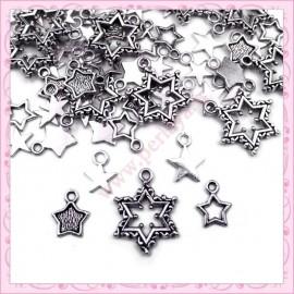 Lot de 50 breloques étoiles argentées 12mm
