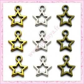 Lot de 90 breloques étoiles bronze, dorées et argentées 8mm