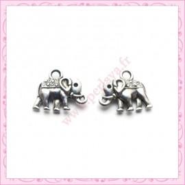 Lot de 15 breloques éléphant en métal argentées 1.4cm