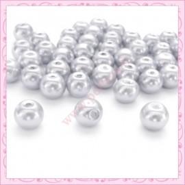Lot de 50 perles en verre nacré 8mm grises