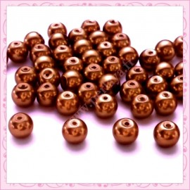 Lot de 50 perles en verre nacré 8mm marron clair