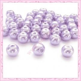 Lot de 50 perles en verre nacré 8mm violette