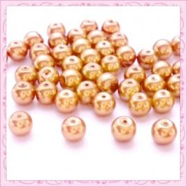 Lot de 50 perles en verre nacré 8mm orange cuivré