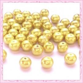 Lot de 50 perles en verre nacré 8mm doré