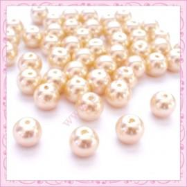 Lot de 50 perles en verre nacré 8mm jaune