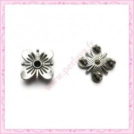 Lot de 50 connecteurs fleurs 15mm argentés en métal