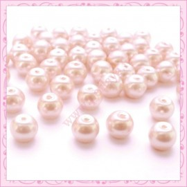 Lot de 50 perles en verre nacré 8mm rose fushia