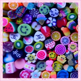 Lot de 100 canes fimo fruit, smiley, fleur.....