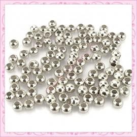 Lot de 500 perles rondes en métal argentées 4mm