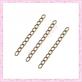 100 chainettes extension bronze 5cm