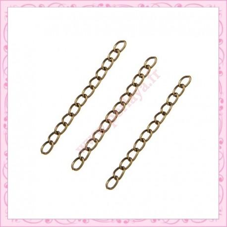 100 chainettes extension bronze 5cm
