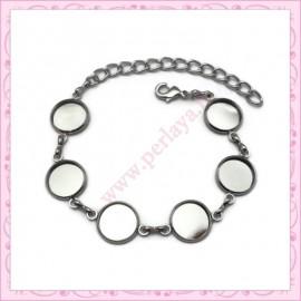 1 bracelet à cabochon 18mm argenté en métal avec chaine extension