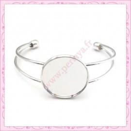 1 bracelet avec support cabochon 25mm argenté en métal