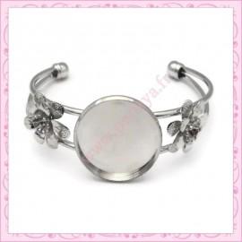 1 bracelet avec support cabochon 30mm argenté foncé en métal