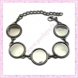 1 bracelet à cabochon 12mm argenté mat en métal avec chaine extension